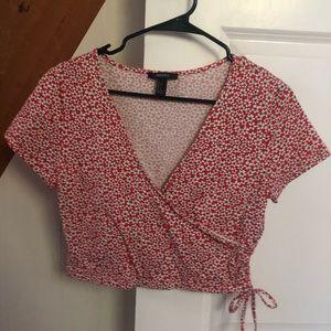 Floral Pattern Tie Side Crop Top NWOT